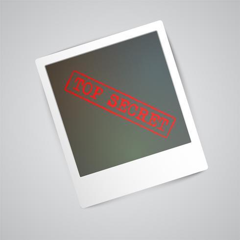 Una fotografía con una señal de advertencia, vector