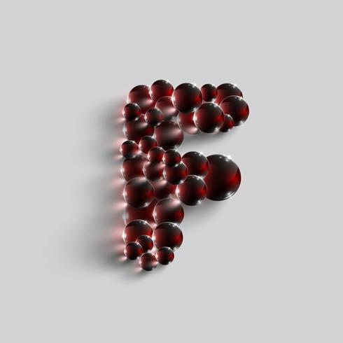 Une lettre faite par des sphères rouges, vecteur