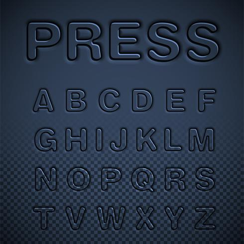 Conjunto de fuentes prensadas, ilustración vectorial