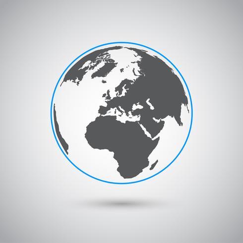 Símbolo de vetor do mundo, design plano