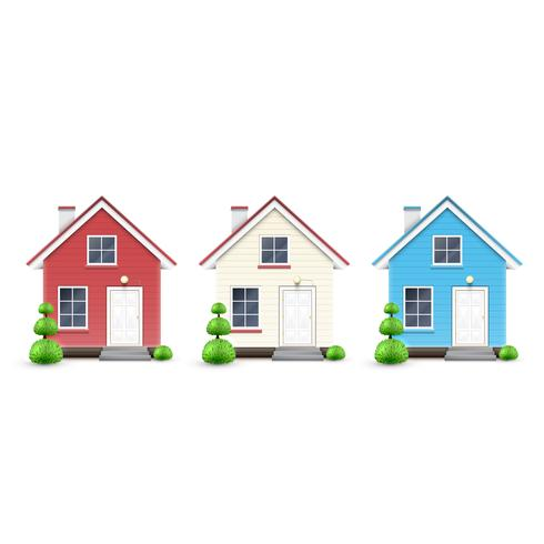 Three kinds of houses, vector