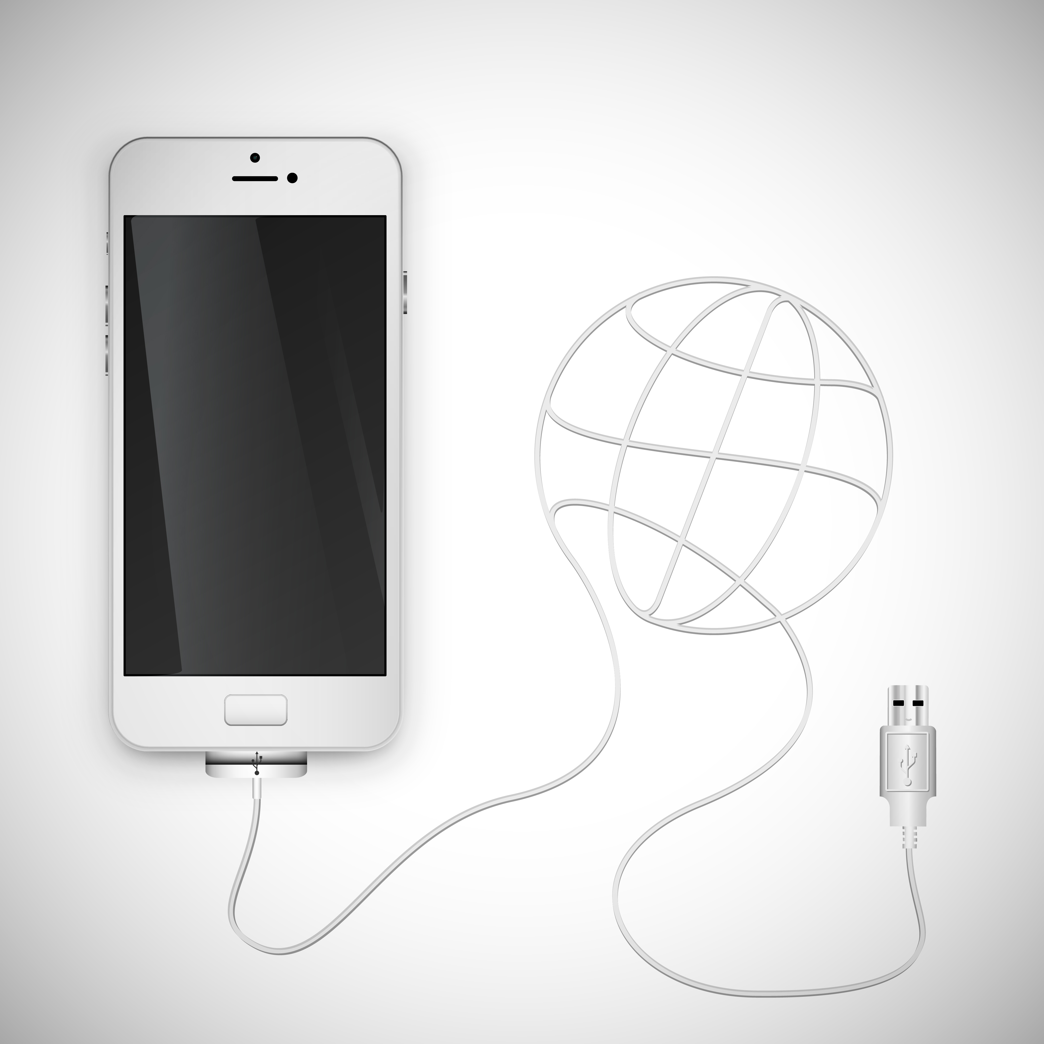 Realistic smartphone with wire, vector illustration ...