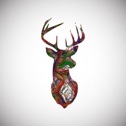 Ciervos coloridos hechos por líneas, ilustración vectorial vector