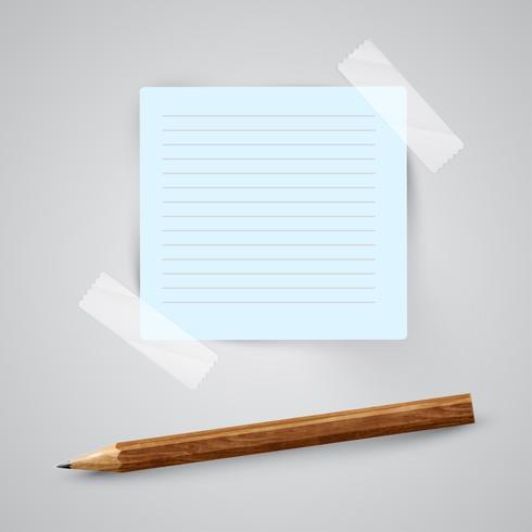 Un trozo de papel con un lápiz, vector