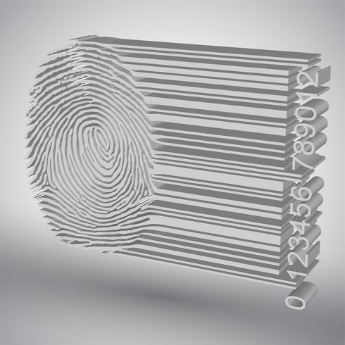 Fingerprint becoming barcode vector illustration