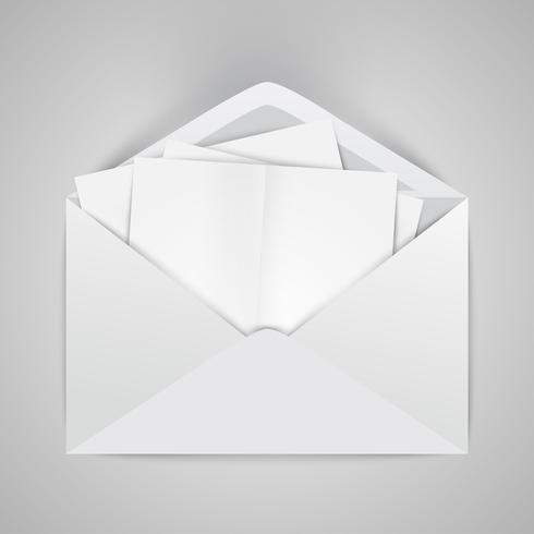 Realistic opened envelope with papers, vector illustration