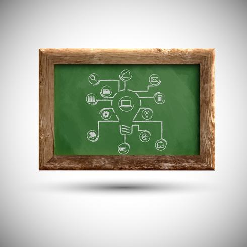 Blackboard with office signs, vector