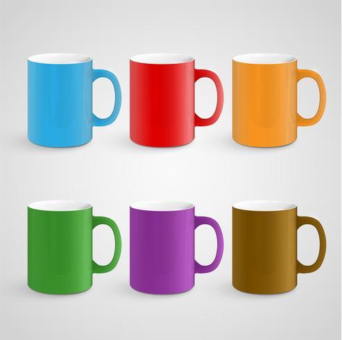 Realistic mugs, vector illustration