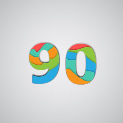 Papercut colorido número en capas, vector