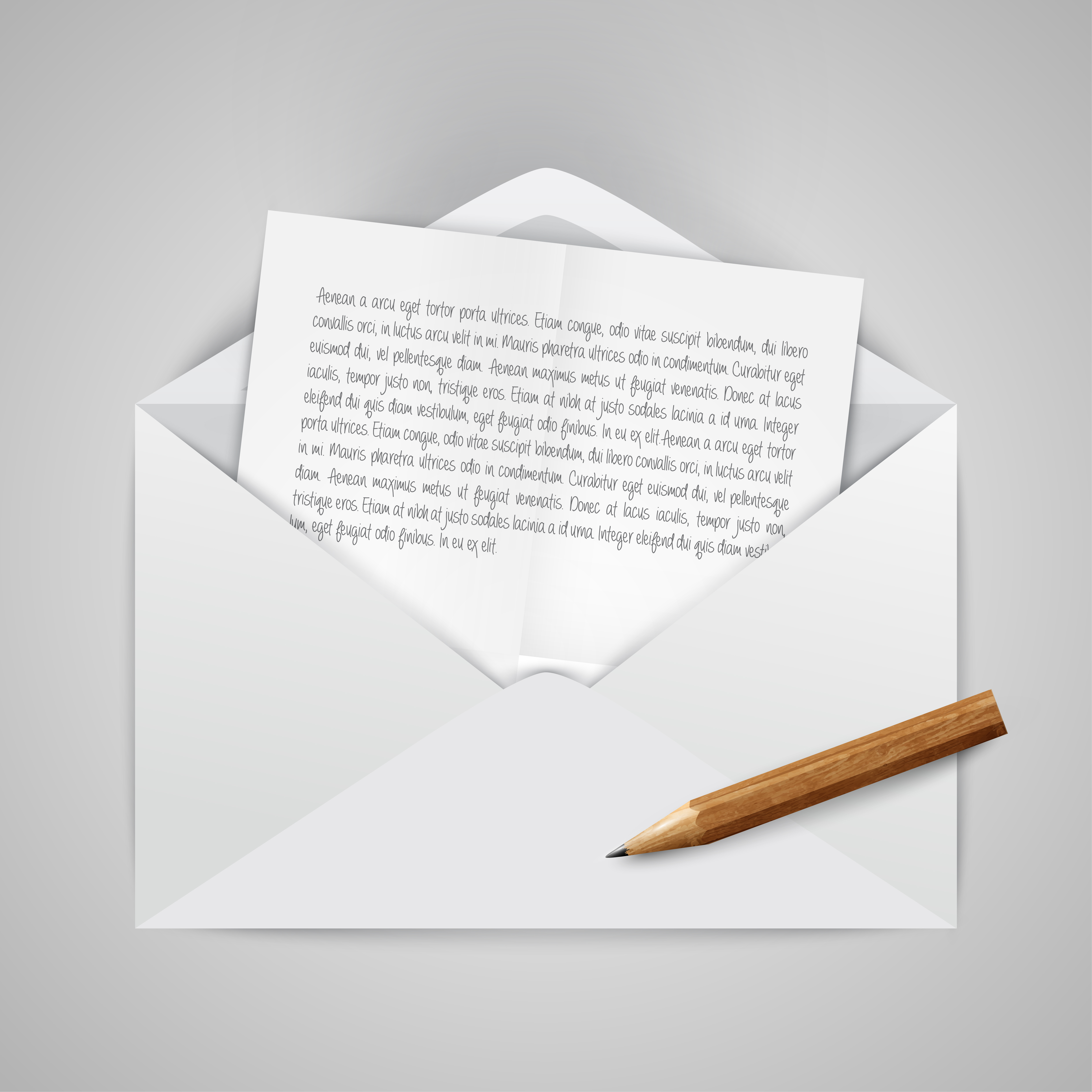 Realistic opened envelope with papers, and a pencil vector