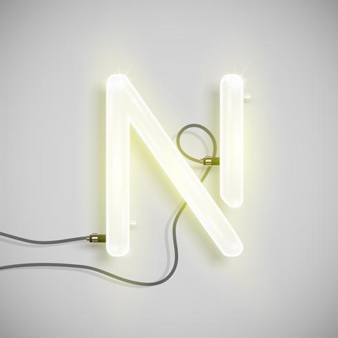 Realistischer Neoncharakter von einem Schriftsatz, Vektorillustration vektor