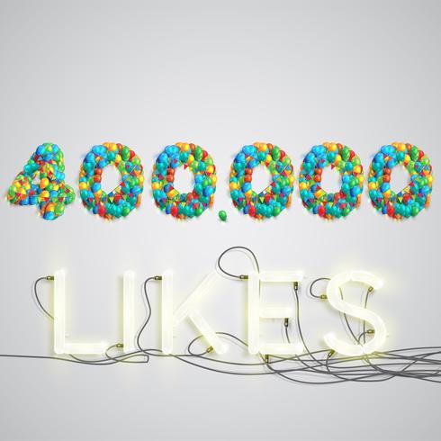 Número de gustos realizados por globo, ilustración vectorial