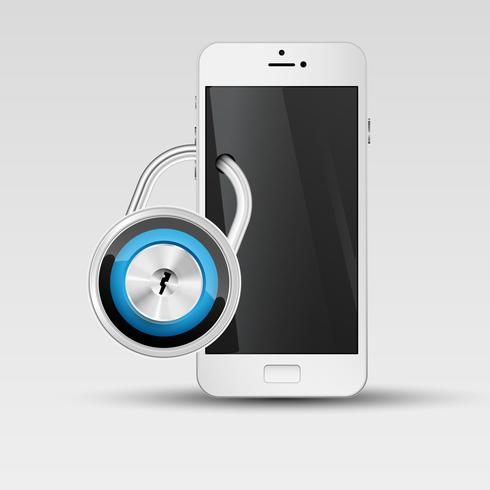 Phone security illustration, vector