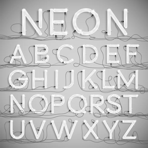 Alfabeto de neón realista con cables (OFF), vector