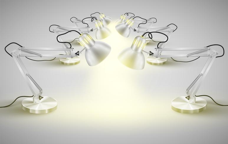 Lámparas de mesa de metal realistas, vector
