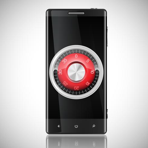 Ilustración de seguridad de teléfono, vector
