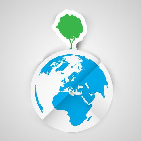 Ett träd på jorden vektor illustration