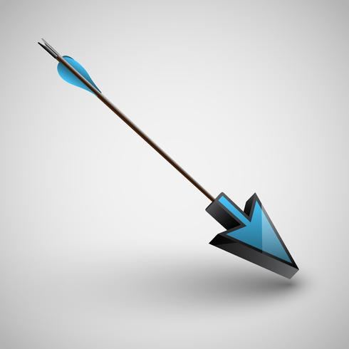 Arrow with arrowhead, vector