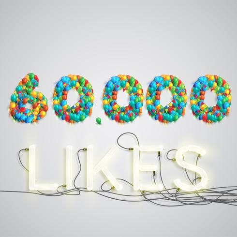 Número de gostos feitos por balão, ilustração vetorial