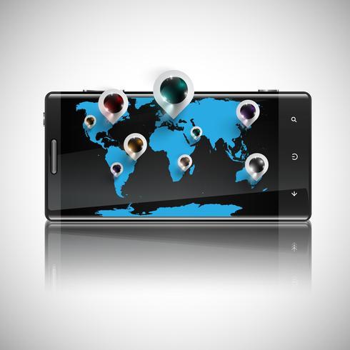 Världskarta med 3D-pinnar på en telefon, vektor