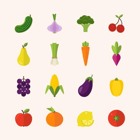 Flat Healthy Food Icons