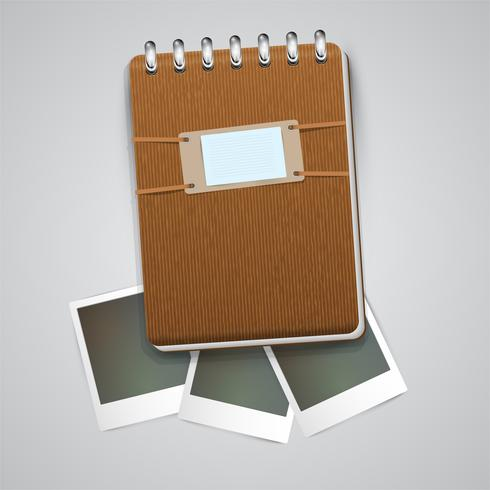 Vintage notebook with photo frames, vector