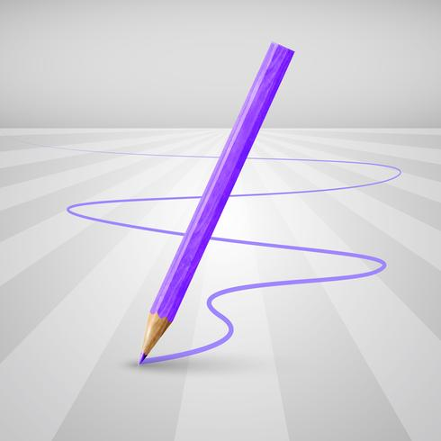 Realistischer hölzerner Bleistift auf einem weißen Hintergrund, Vektorillustration