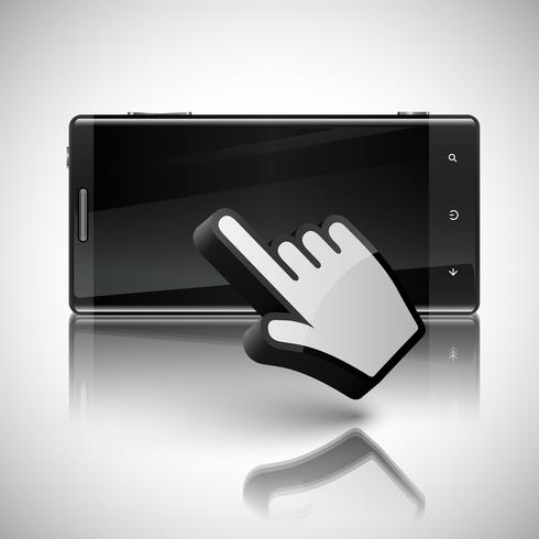 Click on the screen mobile phone, vector
