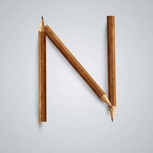 Een brief gemaakt door potlood, vector