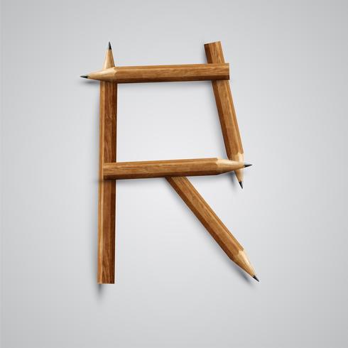 Uma carta feita por lápis, vetor