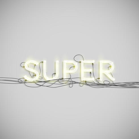Neon elektrisk ordtyp, vektor illustration