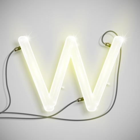 Realistic neon character from a typeset, vector illustration