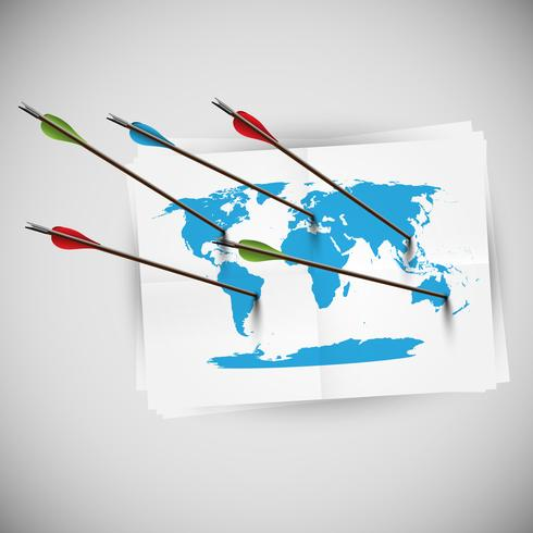 World map with arrows, vector