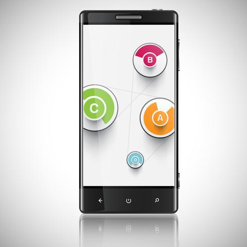 Smartphone, téléphone portable isolé, illustration vectorielle réaliste.