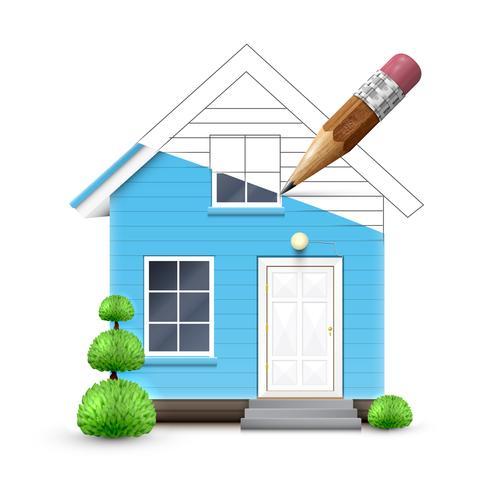 Casa realista siendo dibujada, vector