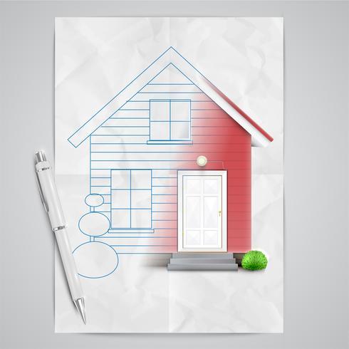 Realistiskt hus dras, vektor