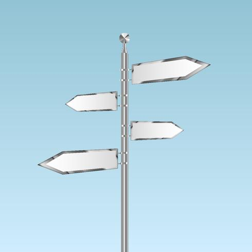 Blank white road signs in bright sky, vector