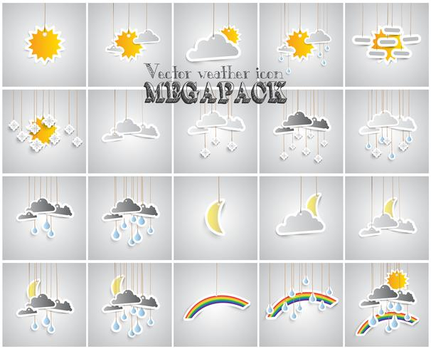 Conjunto de ícones de tempo feito por papel vetor