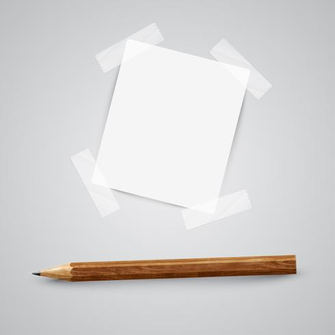 A piece of paper with a pencil, vector