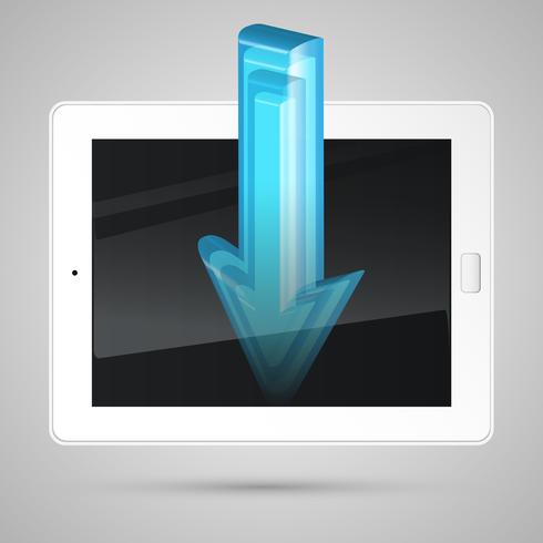Tablet, downloading content, vector