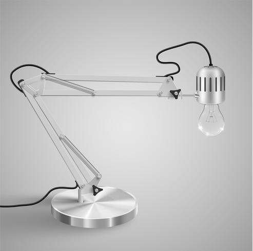Realistisk metall bordslampa, vektor