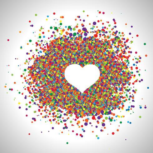 Corazón hecho por puntos de colores, vector