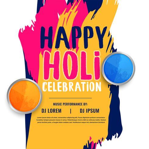 felice holi celebrazione invito poster design