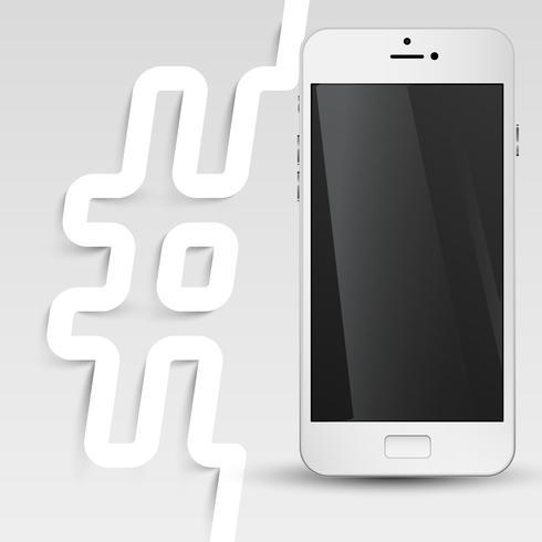 Téléphone à écran noir avec un hashtag, vecteur