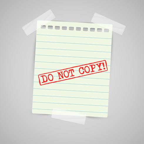Nota de papel con señal de advertencia, vector