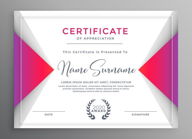 certificado profesional de plantilla de logro