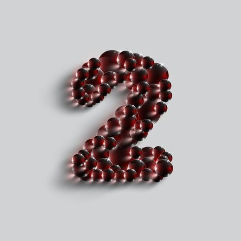 A number made by red spheres, vector