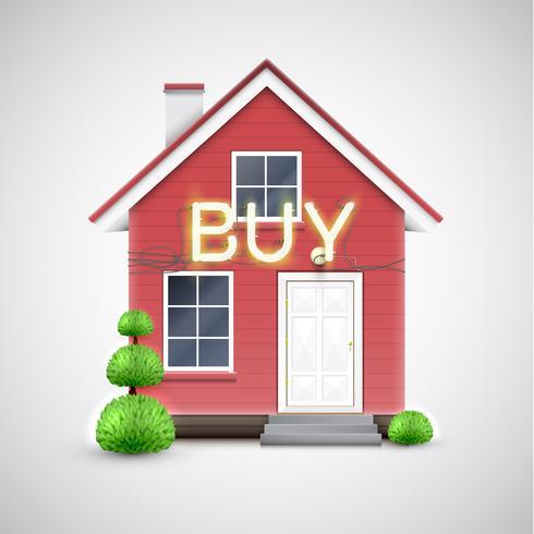"""Casa realista con neón signo """"comprar"""", vector"""