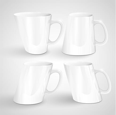 Tasses réalistes, illustration vectorielle