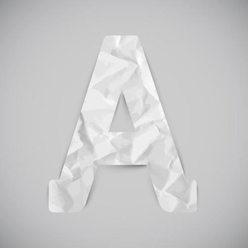 Lettre faite de papier froissé avec des ombres, vector